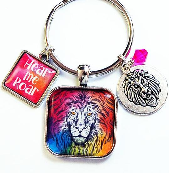 Hear Me Roar Lion Keychain in Bright Colors - Kelly's Handmade