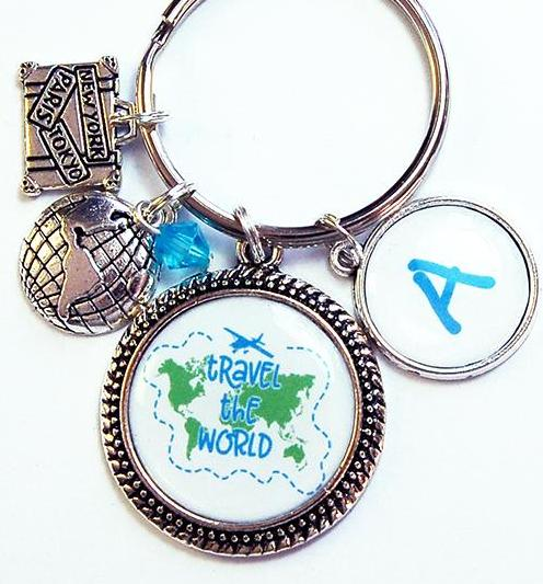 Travel The World Monogram Keychain - Kelly's Handmade