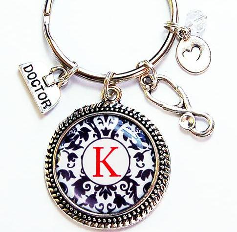 Monogram Keychain for Doctor - Kelly's Handmade