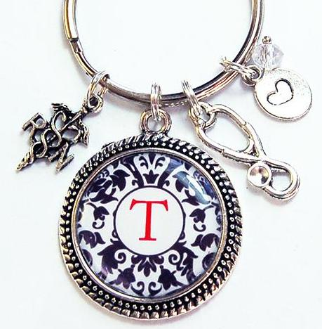 Monogram Keychain for Registered Nurse - Kelly's Handmade