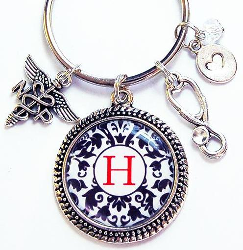 Monogram Keychain for Nurse Practitioner - Kelly's Handmade