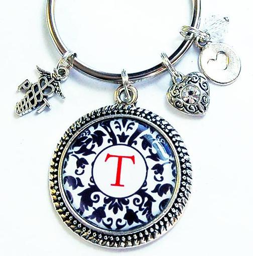 Monogram Keychain for Physical Therapist - Kelly's Handmade