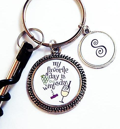 My Favorite Day Is Winesday Corkscrew Keychain Red Wine or White Wine - Kelly's Handmade