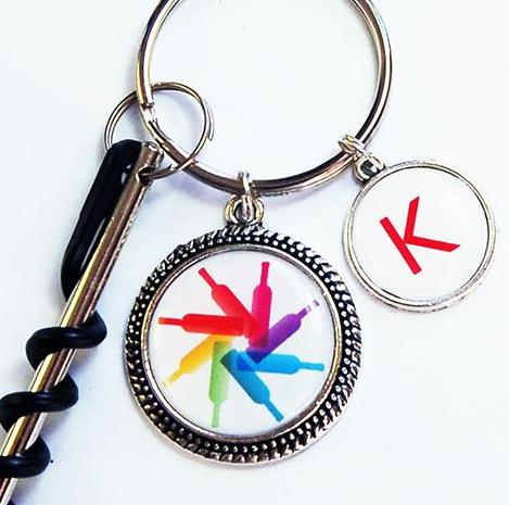 Wine Bottle Corkscrew Keychain in Rainbow of Colors - Kelly's Handmade