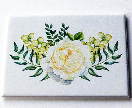 Floral Rose Large Pocket Mirror in Pale Yellow & Green - Kelly's Handmade