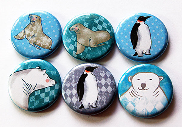 Arctic Animals Set of Six Magnets - Kelly's Handmade