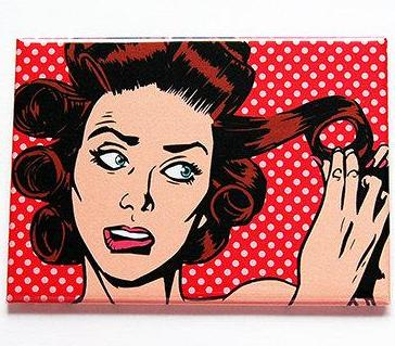 Comic Style Hair Rollers Large Pocket Mirror - Kelly's Handmade