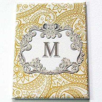 Monogram Large Pocket Mirror in Gold & Grey - Kelly's Handmade