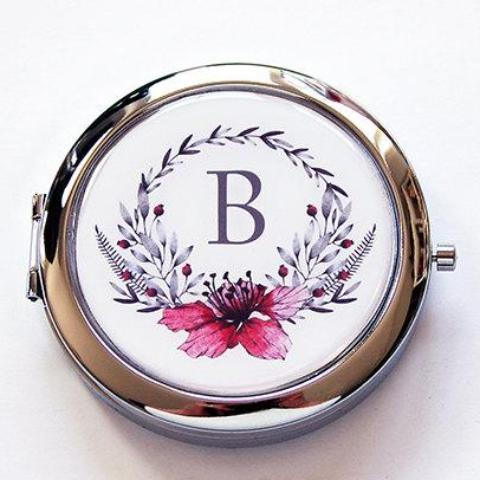 Wreath Monogram Pill Case With Mirror in Pink & Gray - Kelly's Handmade