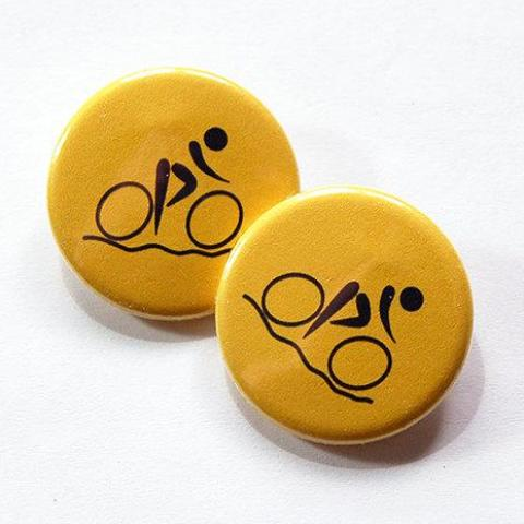 Cycling Shoelace Charms in Yellow - Kelly's Handmade