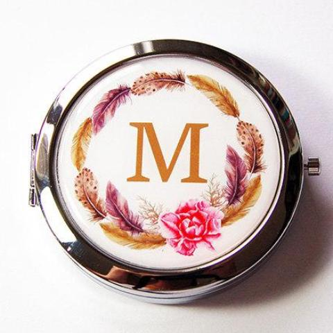 Feather Wreath Monogram Pill Case With Mirror - Kelly's Handmade