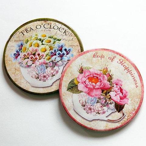 Tea Time Coasters - Pink & Green - Kelly's Handmade