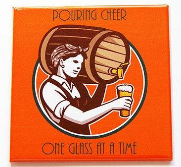 Pouring Cheer Beer Magnet - Kelly's Handmade
