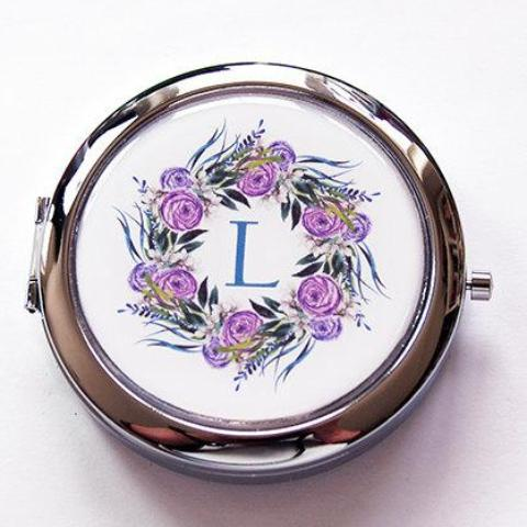 Purple Wreath Monogram Pill Case With Mirror - Kelly's Handmade
