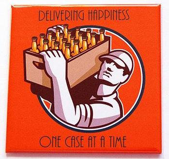 Delivering Happiness Beer Magnet - Kelly's Handmade