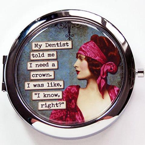 Need A Crown Funny Compact Mirror - Kelly's Handmade