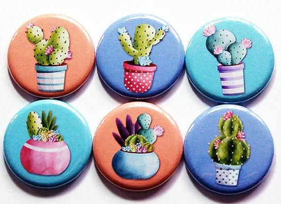 Cactus Magnets Set of Six Magnets - Kelly's Handmade