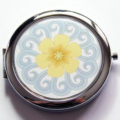 Bride's Something Blue Compact Mirror in Blue & Yellow - Kelly's Handmade