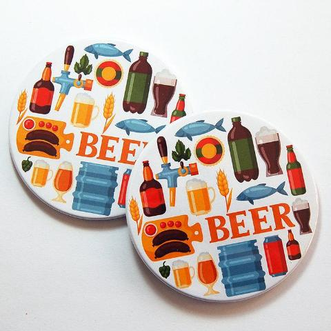 Beer Lover Coasters in Bright Colors - Kelly's Handmade