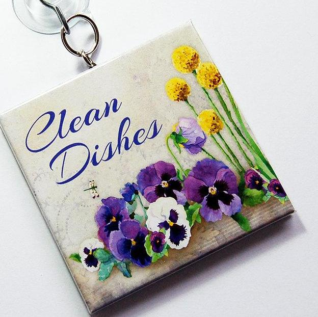Pansy Clean/Dirty Dishwasher Sign - Kelly's Handmade