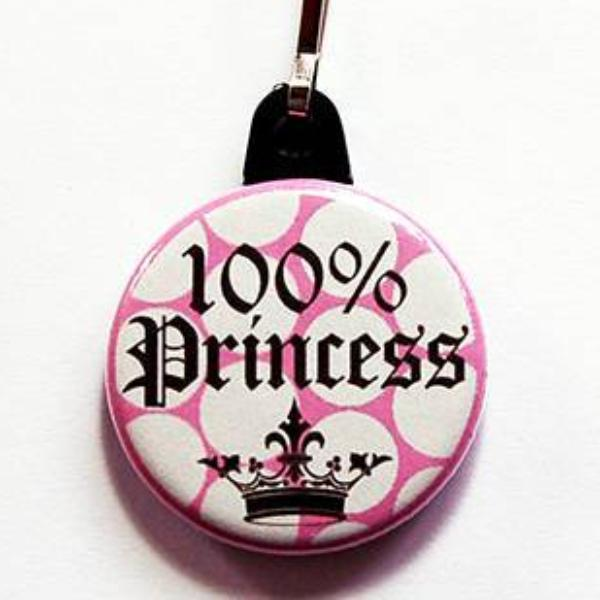100% Princess Zipper Pull in Pink & Brown - Kelly's Handmade