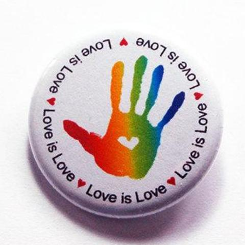 Love Is Love Rainbow Hand Pin - Kelly's Handmade