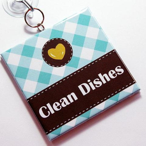 Gingham Clean/Dirty Dishwasher Sign in Blue - Kelly's Handmade