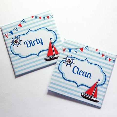 Beach House Sailboat Clean & Dirty Dishwasher Magnets - Kelly's Handmade