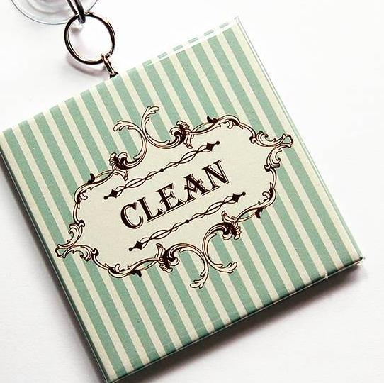 Striped Clean/Dirty Dishwasher Sign in Green & Ivory - Kelly's Handmade