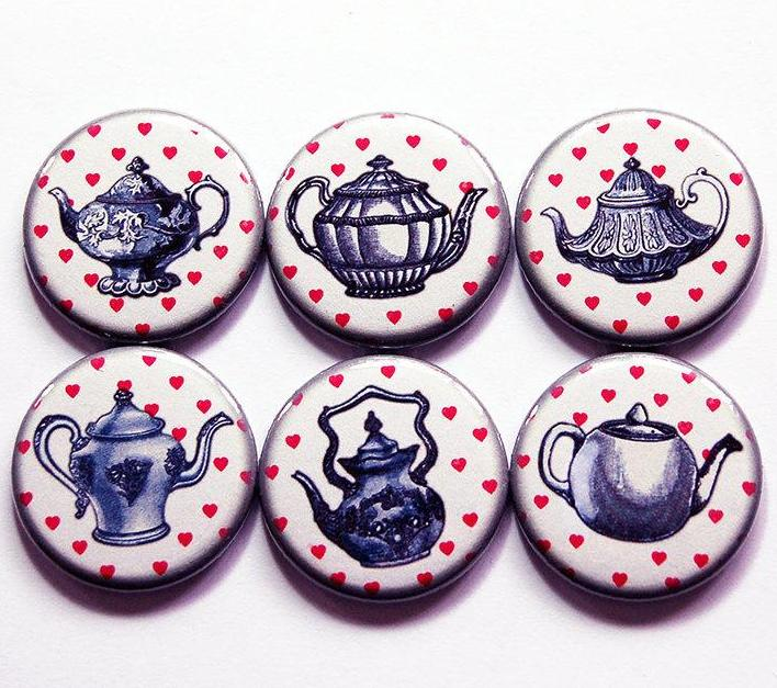 Teapot Love Set Of Six Magnets - Kelly's Handmade