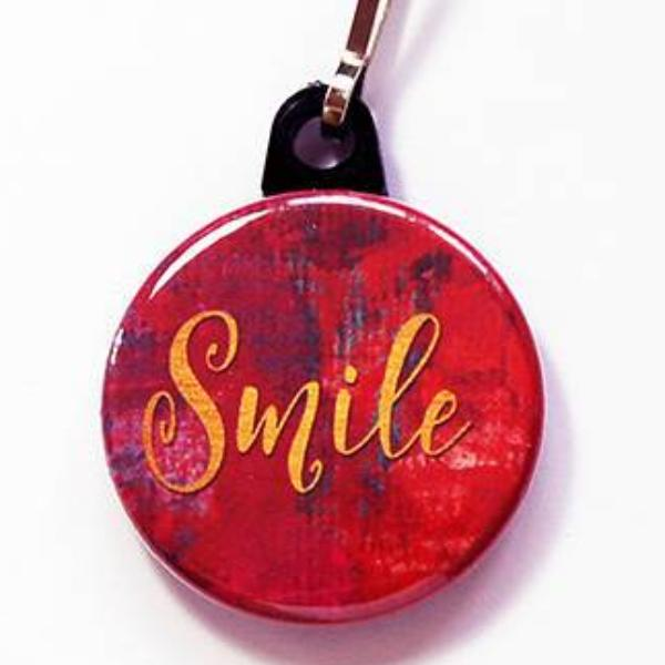 Smile Zipper Pull in Red - Kelly's Handmade
