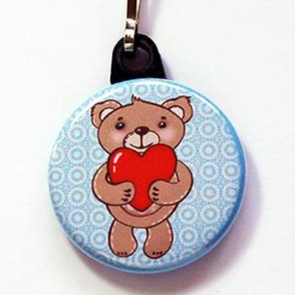Teddy Bear With Heart Zipper Pull - Kelly's Handmade