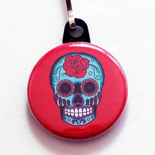 Sugar Skull Zipper Pill in Red - Kelly's Handmade