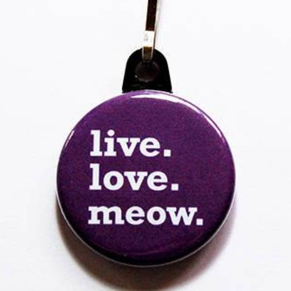 Live Love Meow in Purple - Kelly's Handmade