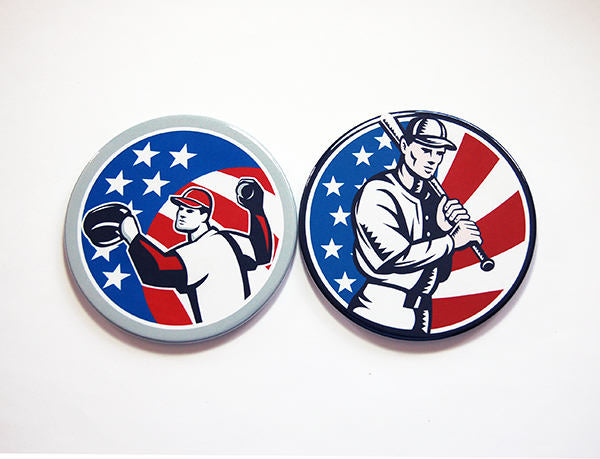 Red White & Blue Baseball Coasters - Kelly's Handmade