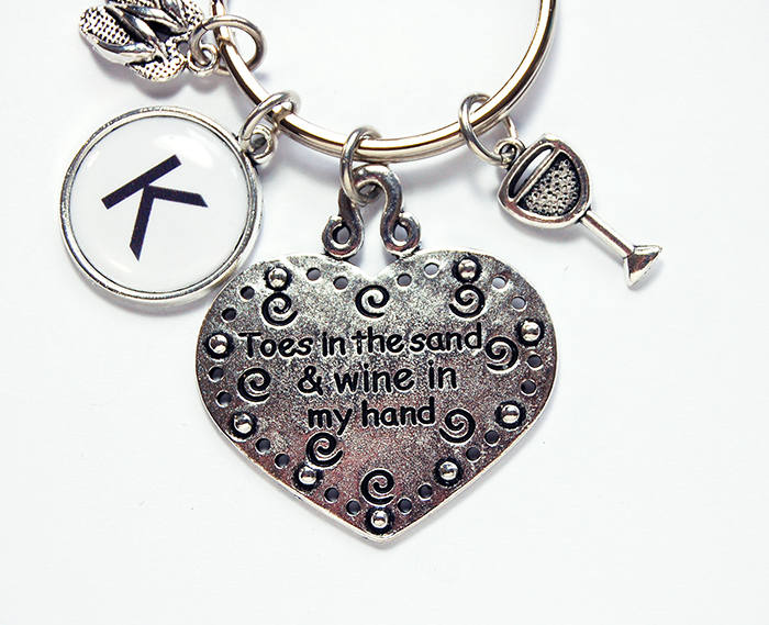 Toes In The Sand Monogram Keychain - Kelly's Handmade