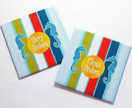 Beach House Seahorse Clean/Dirty Dishwasher Magnets - Kelly's Handmade