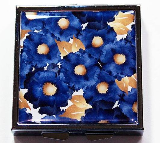 Floral Square Pill Case in Blue & Gold - Kelly's Handmade