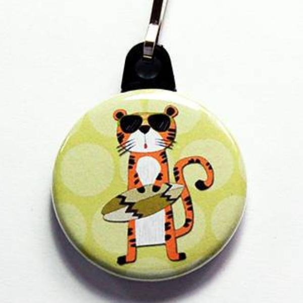 Tiger Surfing Zipper Pull - Kelly's Handmade