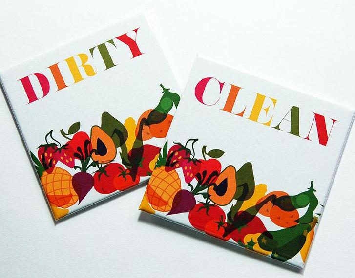 Veggies Clean & Dirty Dishwasher Magnets - Kelly's Handmade