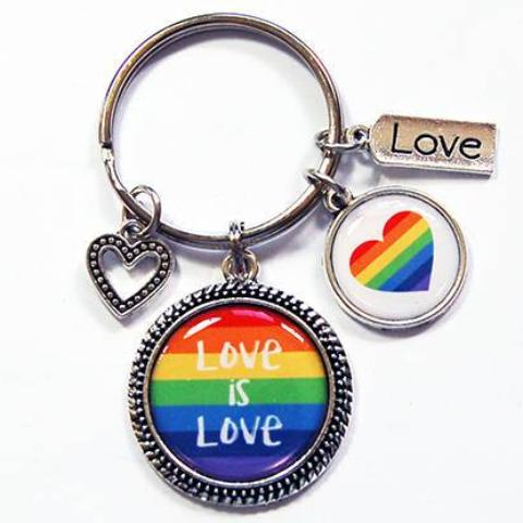 Love is Love Rainbow Heart Keychain - Kelly's Handmade