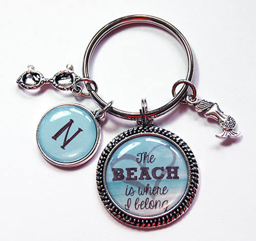 Beach Lover Monogram Keychain - Kelly's Handmade