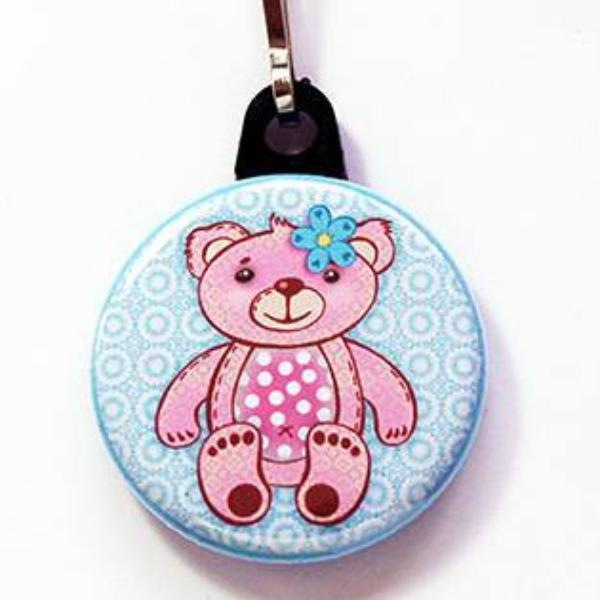 Teddy Bear Zipper Pull in Pink & Blue - Kelly's Handmade