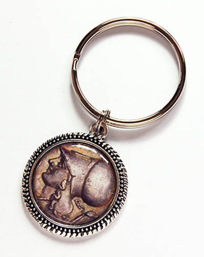 Old Roman or Greek Coin Replica Keychain