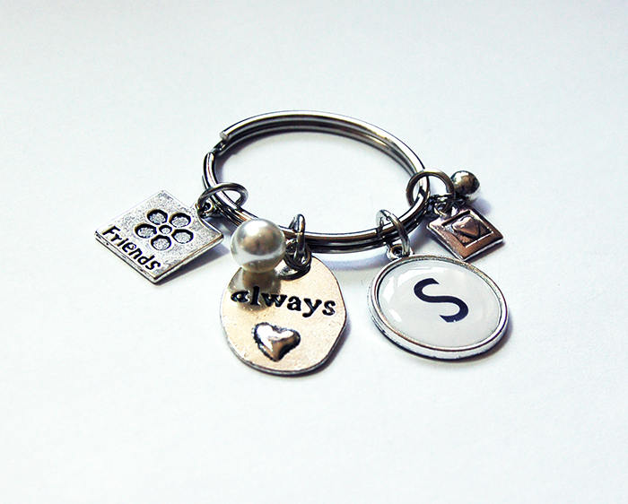 Always Friends Monogram Keychain - Kelly's Handmade