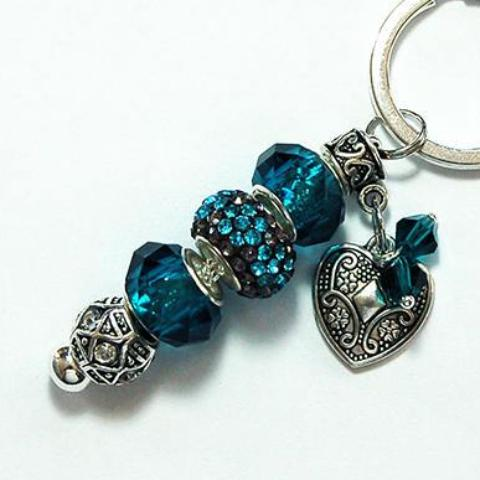 Heart Rhinestone Bead Keychain in Teal - Kelly's Handmade