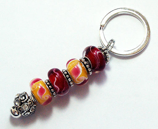 Bead Keychain in Rosy Pink & Yellow - Kelly's Handmade