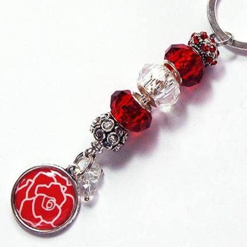 Rose Bead Keychain in Red - Kelly's Handmade