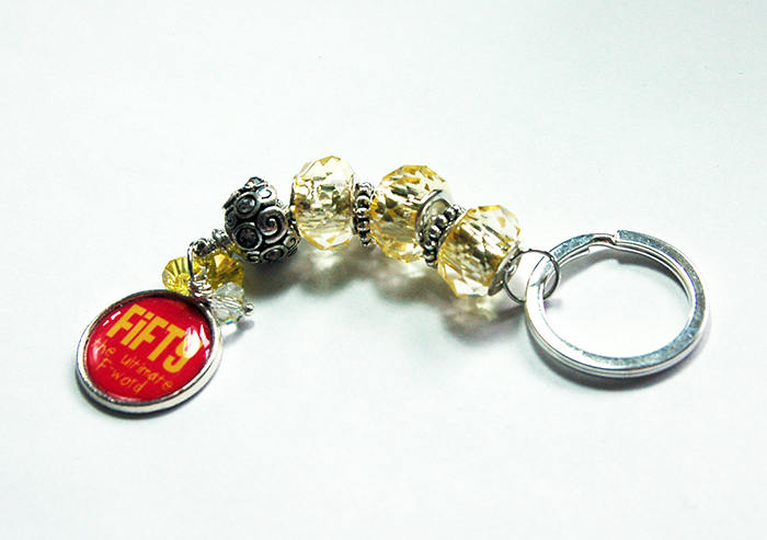50th Birthday Bead Keychain in Pink & Yellow - Kelly's Handmade