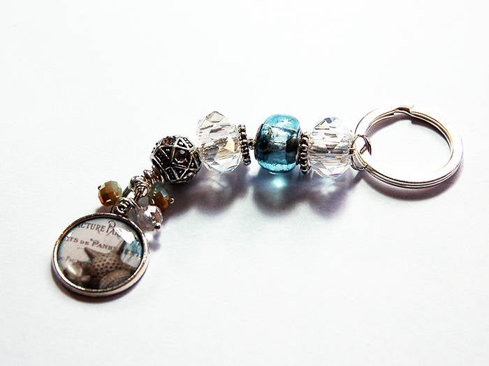 Sea Shell Bead Keychain - Kelly's Handmade